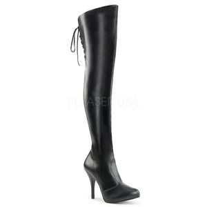 Shoes - 5 Inch High Heel Platform Lace-Up Thigh High Boots